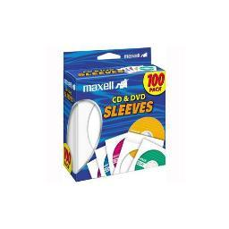 Maxell 190133 - cd402 cd/dvd storage sleeves (100 pk; white)