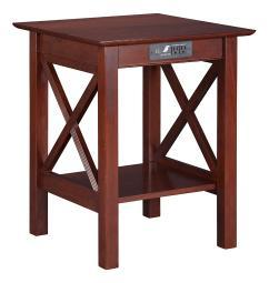 Lexi Printer Stand with Charging Station Walnut AH10254