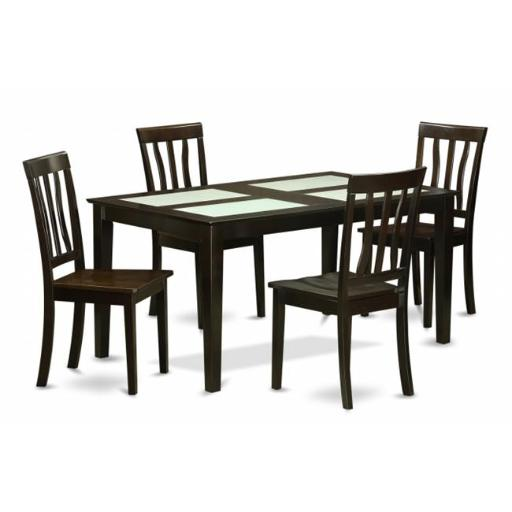 East West Furniture CAAN5G-CAP-W 5 Piece Dining Table Set For 4- Dining With Glass Top and 4 Dining Chairs