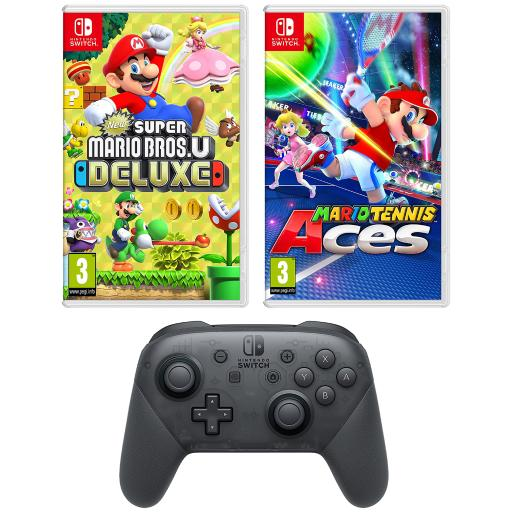 Nintendo Switch New Super Mario Bros U Deluxe and Mario Tennis Aces and Pro  Controller