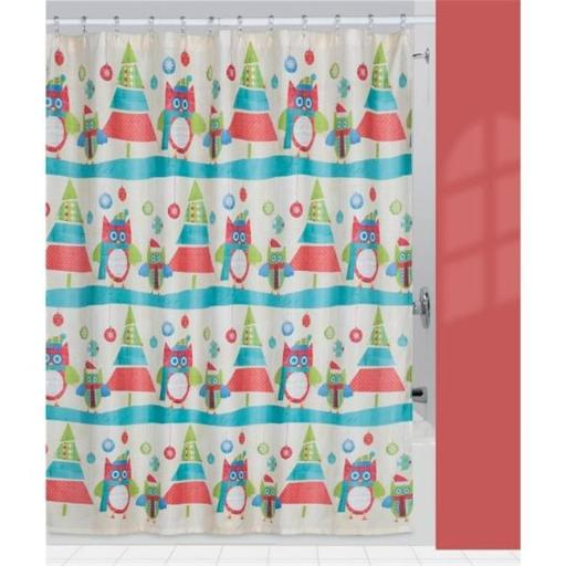 Creative Bath S1212MULT Holiday Owls Shower Curtain