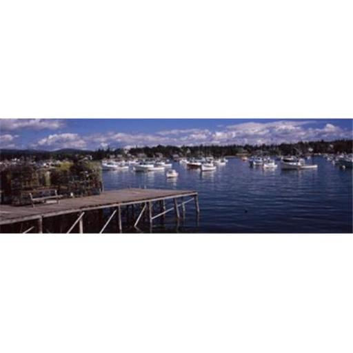 Panoramic Images PPI118750L Boats in the sea Bass Harbor Hancock County Maine USA Poster Print by Panoramic Images - 36 x 12