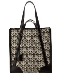Salvatore Ferragamo Monogram Canvas & Leather Tote