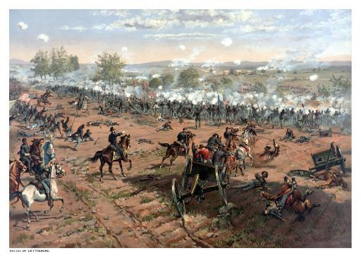 Vintage Civil War print of the Battle of Gettysburg. The famous battle took place in early July 1863 and resulted in the largest number of.