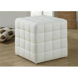 Monarch Specialties I 8978 White Leather-Look Ottoman
