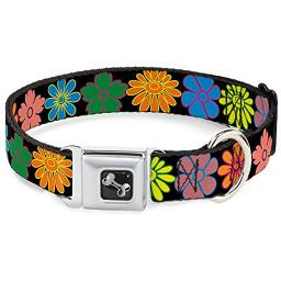 Bright Colorful Daisies and Flowers Floral Pattern Animal Seatbelt Pet Collar