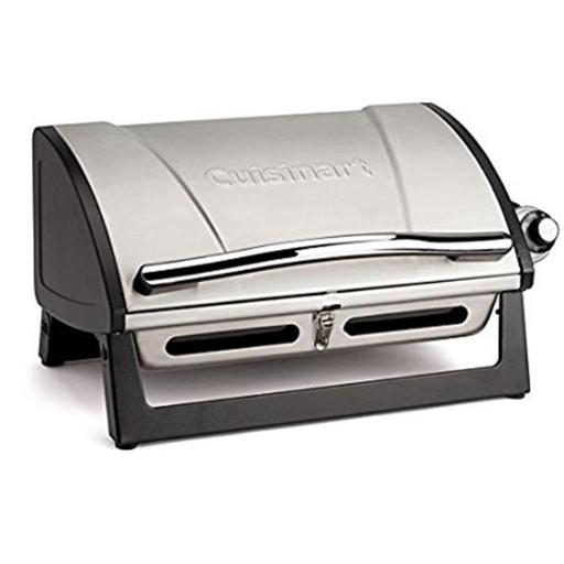 16 in. dia. Grillster Portable Gas Grill - Enameled Grate, Hinged Lid