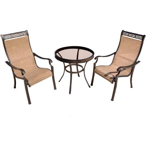 Hanover MONDN3PCG Monaco Bistro Set with Glass Table - 3 Piece