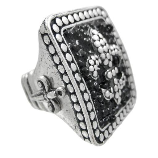 Large Pewter & Black Bead Fleur De Lis Stretch Ring
