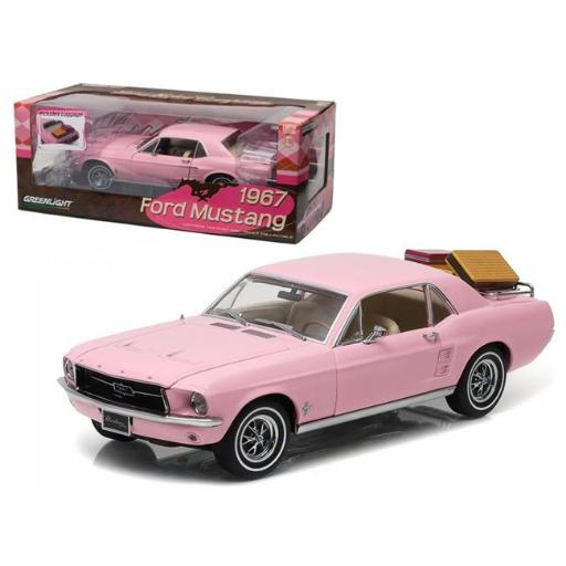 Greenlight 12966 1 isto 18 1967 Ford Mustang Coupe with Luggage Diecast Model Car, Pink
