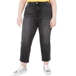 Celebrity Pink Womens Plus The Iconic Cotton Blend Frayed Hem Ankle Jeans