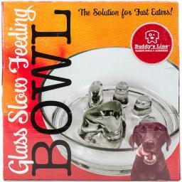 """Glass Slow Feed Bowl 8.25""""x2.5""""-holds 2 Cups Dry Food"""