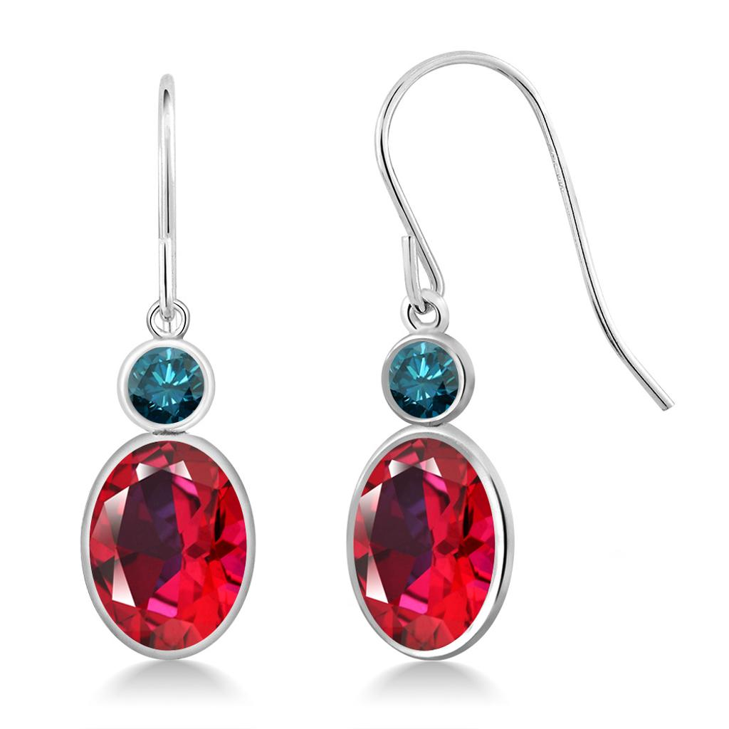 14K White Gold Diamond Earrings Set with Blazing Red Topaz from Swarovski
