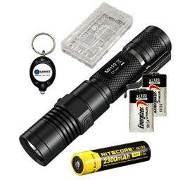 BUNDLE: Nitecore MH10 Multitask Hybrid Series CREE XM-L2 U2 LED USB Rechargeable Flashlight 1000 Lumens w/ 1x Nitecore NL183 18650 Li-ion Rechargeable batteries, 2x Energizer CR123A and Lightjunction, 1x battery case, and Keychain light