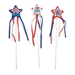 Fun Express - Foam Patriotic Wand CK-12 for Fourth of July - Craft Kits - Party Craft Kits - Toys - Fourth of July - 12 Pieces