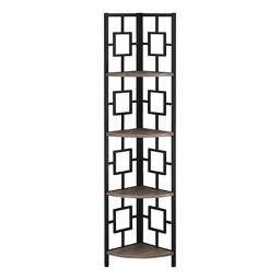 """Offex 62""""H Corner Etagere Bookcase with Black Metal Frame - Dark Taupe"""