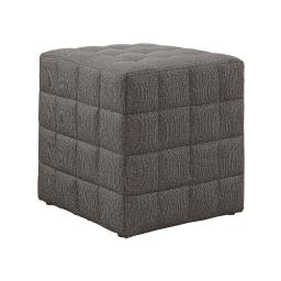 Offex Contemporary Brown Linen-Look Upholstered Cube Ottoman