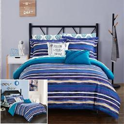 Chic Home 7 Piece Chandler Ikat Reversible Boho Contemporary Watermark Striped Bed in a Bag, Blue