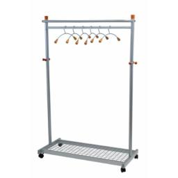 Alba Two-Sided, Two-Shelf Coat Rack, 6 Hangers, 6 Hooks, Metallic Gray and Light Wood, 45.6 x 72 x 22 Inches (PMLUX6)