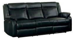 Leatherette Upholstered Dual Recliner Sofa With Drop Down Cup Holder, Black Finish