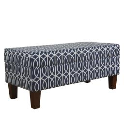 Printed Trellis Patterned Upholstered Bench With Hinged Lid Storage And Wood Feet, Large, Blue