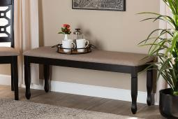 Baxton Studio Corey Modern and Contemporary Sand Fabric Upholstered and Dark Brown Finished Wood Dining Bench
