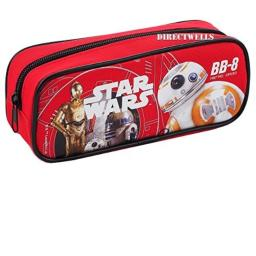 Star Wars Robot BB Character Authentic Licensed Single Zipper Pencil Case (Red)