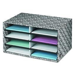 Bankers Box Decorative Eight Compartment Literature Sorter, Letter, Black/White Brocade (6171302)