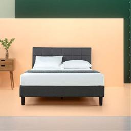 Zinus Lottie Upholstered Square Stitched Platform Bed / Mattress Foundation / Easy Assembly / Strong Wood Slat Support Queen
