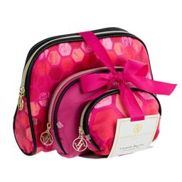 ADRIENNE VITTADINI Cosmetic Makeup Bags: Compact Travel Toiletry Bag Set in Small, Medium and Large for Women and Girls - Black and Pink Hex