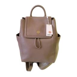 Tory Burch Landon Flap Backpack in Pebbled Leather (French Gray)