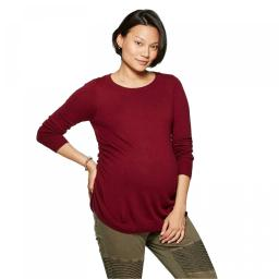 Isabel Maternity by Ingrid & Isabel Essential Side Shirred Pullover Sweater Small Burgundy