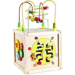 Classic Toy Wood Multi-Activity Cube with Wheels