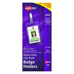 """Avery Clear Heavy-Duty Clip Style Portrait Badge Holders, 3-1/2"""" x 2-1/4"""", Box of 50 (2920)"""