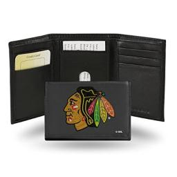 NHL Chicago Blackhawks Embroidered Leather Trifold Wallet
