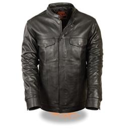 MEN'S MOTORCYCLE SON OF ANARCHY CLUB STYLE LEATHER SHIRT SNAP JACKET BLACK NEW (M Regular)