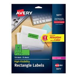"""Avery Neon Address Labels with Sure Feed for Laser Printers, 1 x 2 5/8"""", 750 Green Stickers(5971)"""