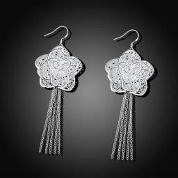 Flower Tassell Drop Earring in 18K White Gold Plated
