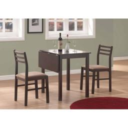 Offex OFX-284083-MO Cappuccino 3 Piece Solid-Top Drop Leaf Dining Set