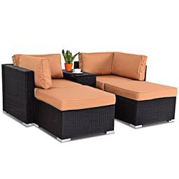 5 pcs Outdoor Rattan Wicker Sectional Chair Lounge Daybed Set