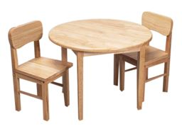 Gift Mark Childern's Natural Hardwood Round Table and Chair Set  - Natural Finish
