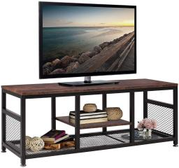 VECELO Modern Versatile TV Stand,Entertainment Center Media Console Table for TV Cable Box Gaming,Industrial Table with Open Bookshelf
