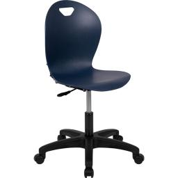 Offex Mid Back Design Lightweight Plastic Stackable Classroom Task Chair with Nylon Base, Navy