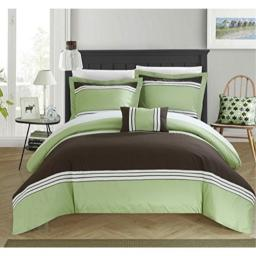 Chic Home 4 Piece Madison Hotel Collection Duvet Cover Set Shams and Decorative Pillows, Queen, Green