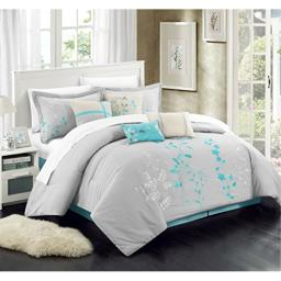 Chic Home 12-Piece Bliss Garden Embroidered Comforter Set, Turquoise, Queen