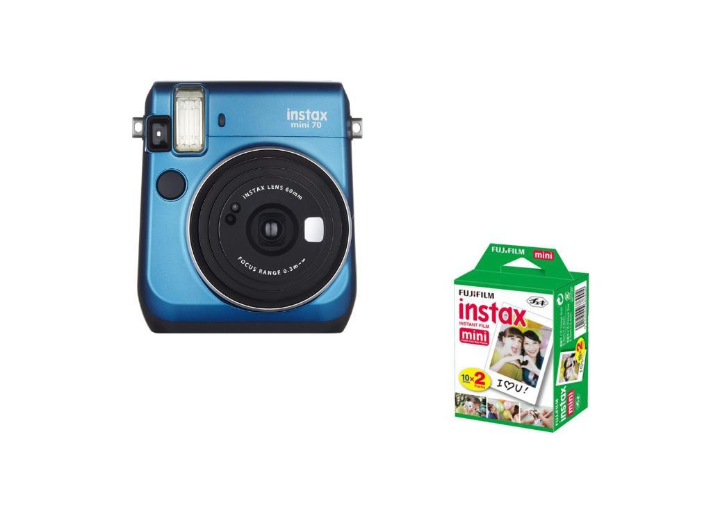 Fujifilm Instax Mini 70 - Instant Film Camera Bundle with Film - Blue