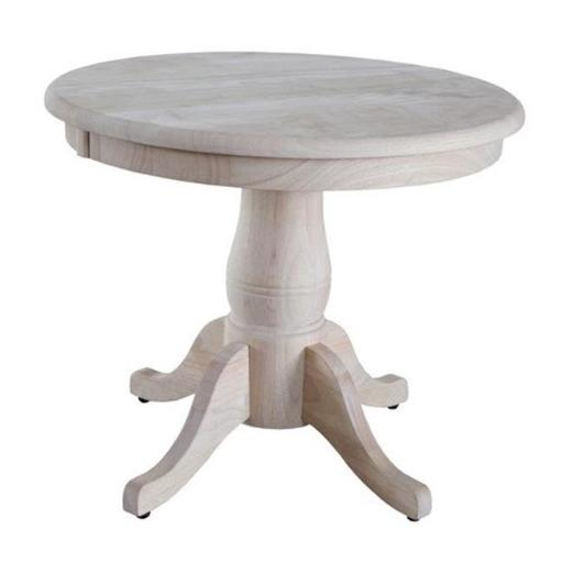 Round pedestal table set top and base Unfiinished