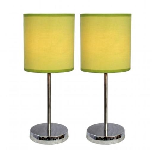 All The Rages LT2007-GRN-2PK Simple Designs Chrome Mini Basic Table Lamp with Fabric Shade 2 Pack Set, Green