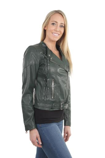 Women's Juniors Fashionable Faux Leather Moto Biker Jacket with Pockets