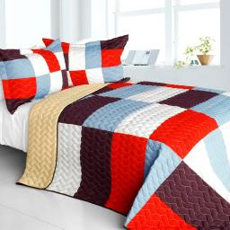 Star Swings 3PC Vermicelli-Quilted Patchwork Geometric Quilt Set Full/Queen
